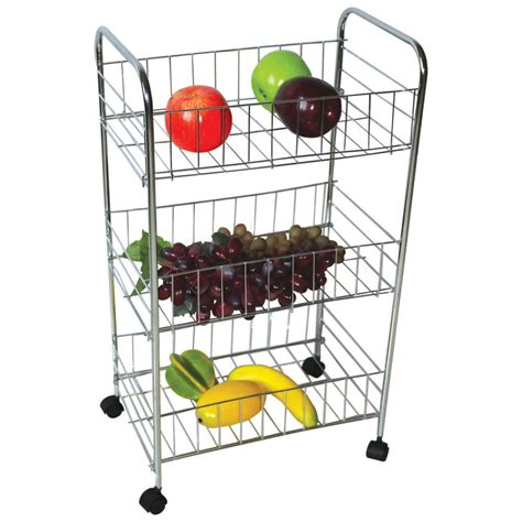 3 Tier Trolley Storage Wheels Vegetable Fruit Kitchen