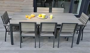 table bois alu jardin wrastecom With salon de jardin en aluminium castorama 7 table jardin avec banc