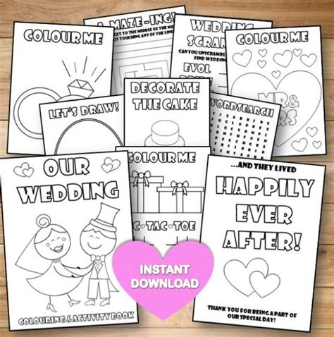 kids wedding colouring activity book instant