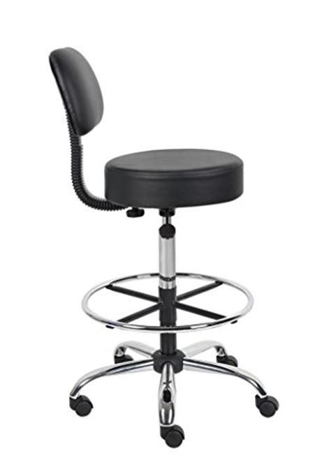 Medical Drafting Stool With Back Cushion Adjustable Seat