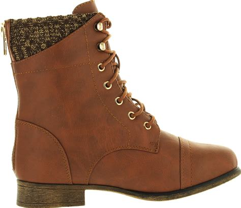 ankle sweater boots top moda womens sweater cuff lace up zipper high