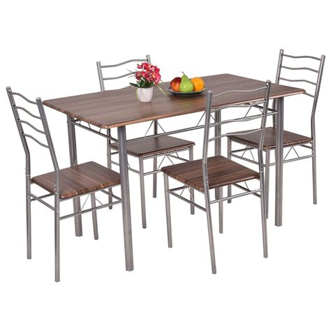 4 chair table set set 5 piece dining wood metal table and 4 chairs kitchen