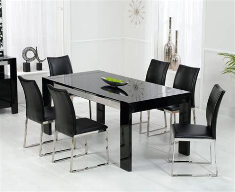 enchanting black high gloss dining table  chairs