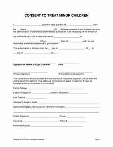 Free consent for medical treatment of a minor form word for Consent form template for children