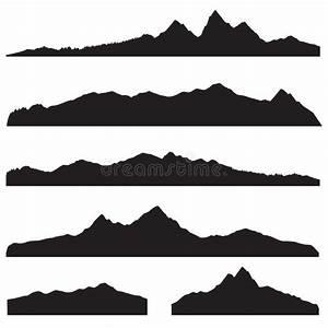 Mountains Landscape Silhouette Set. High Peak Mountain ...