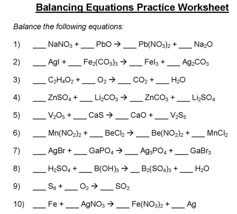 balancing equations worksheet chemical