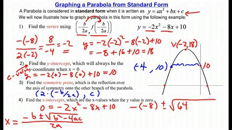 find standard form from graph graphing a parabola from standard form youtube