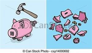 EPS Vectors of Piggy bank destroyed / Economic depression ...