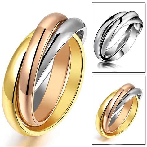 Three Color Gold Rose Gold Silver Men Ring Titanium Steel