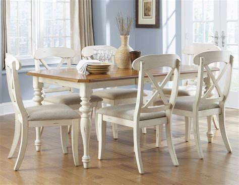 white wood dining dining room set w x back side chairs in bisque white pine