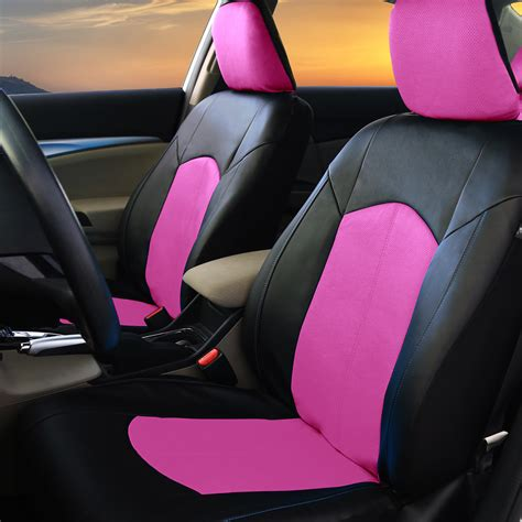 pink and black car seat pu leather car seat covers for auto pink black 5 headrests