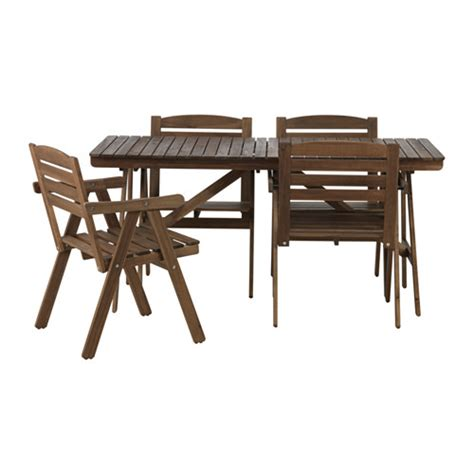 falholmen table 4 chairs w armrests outdoor grey brown ikea