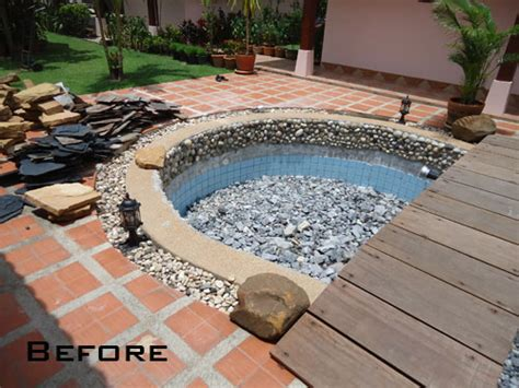 tired of your pool why not convert it to a tropical pond