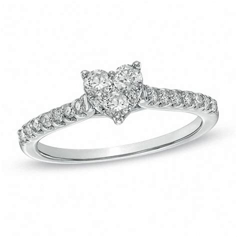 1 2 ct t w diamond heart shaped engagement ring in 14k