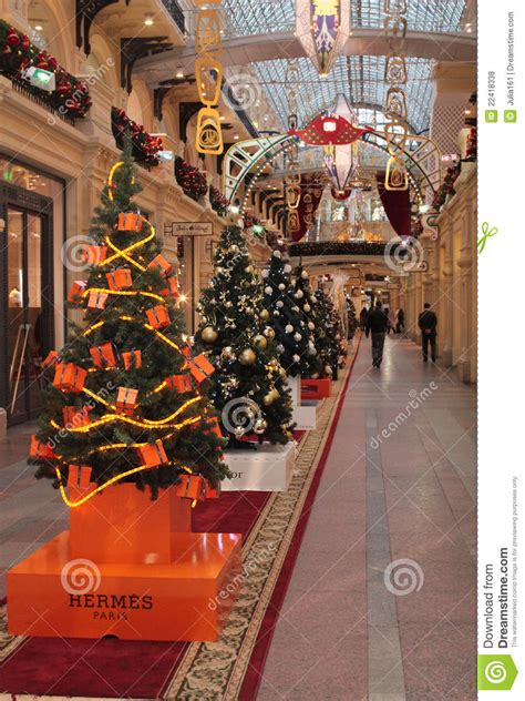 hermes shop christmas decoration editorial stock photo