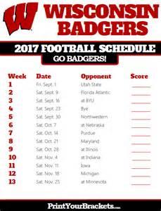 Printable Wisconsin Football Schedule 2017