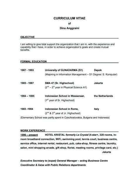 Objective Statements To Put On A Resume by A Objective To Put On A Resume Sles Of Resumes