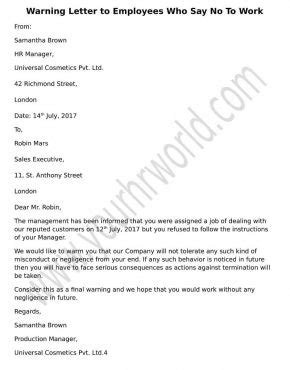 » Warning Letter to Employees Refusing to Work