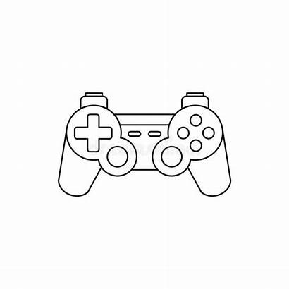 Outline Console Gaming Joystick Icon Drawing Background
