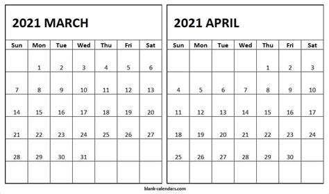 march april  calendar printable blank calendar