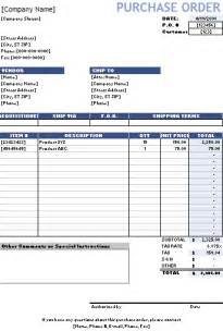 Free Order Form Template Excel Purchase Order Template