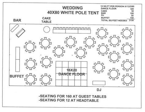 wedding  white pole tent  wedding floor plan