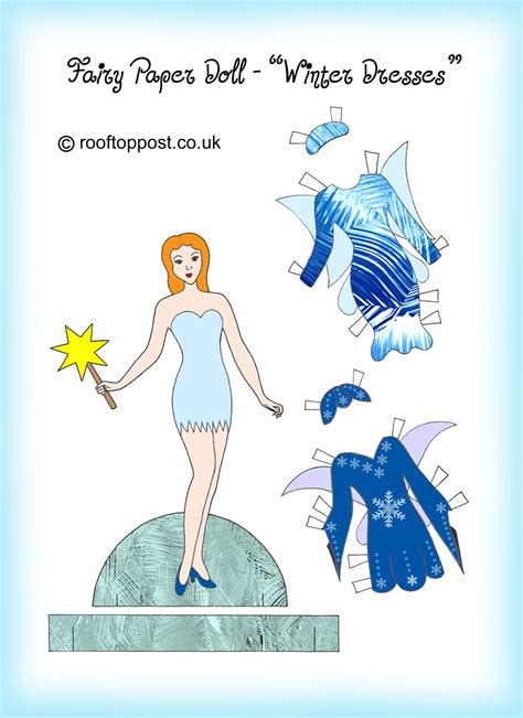 fairy paper doll  winter dresses rooftop post printables