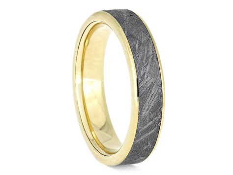 golden meteorite wedding band unisex ring with 14k yellow etsy