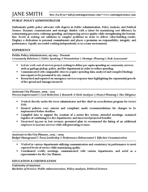 Public Policy Administrator Resume