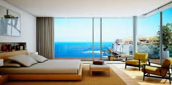 luxury bedroom and beautiful beach view home design
