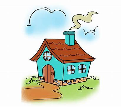 Cartoon Draw Drawing Easy Clipart Mansion Steps