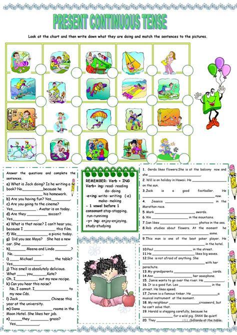 present continuous tense worksheet  esl printable