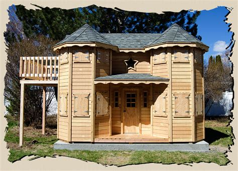 These designs are meant to be handmade wooden toys for children. Castle playhouse plans | WoodManor Playhouses