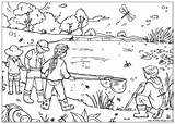 Pond Dipping Colouring Coloring Pages Habitat Village Print sketch template