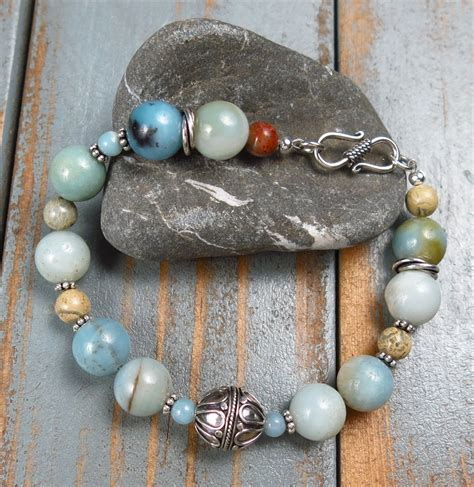 Handmade Amazonite And Bali Silver Bracelet  Handmade Jewelry