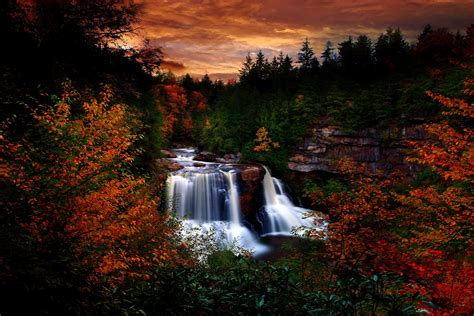 Autumn Waterfall At Blackwater Falls State Park West