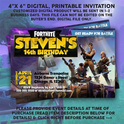 fortnite printable birthday invitation digital file