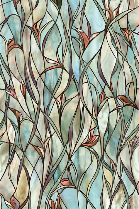 Decorative Window Stained Glass - stained glass panels non adhesive frosted privacy flowers