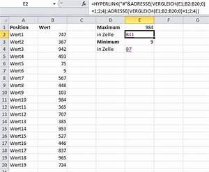 Maximum Und Minimum Berechnen : position eines wertes in einer excel tabelle bestimmen und als hyperlink anbieten ~ Themetempest.com Abrechnung