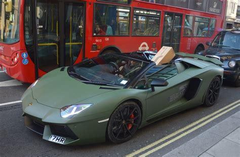 matte green maserati londoner uses matte green aventador as delivery car