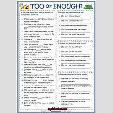 Too Or Enough Esl Grammar Exercise Worksheet  Grammar  English Grammar Exercises, English