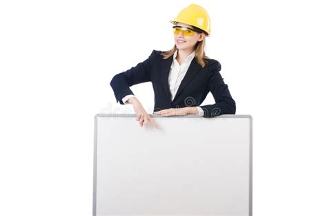 safety officer holding blank sign stock photo image