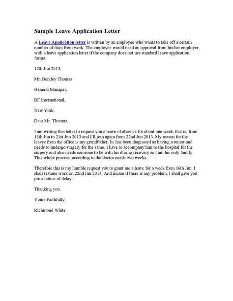 written application letter  leave obtain abandon
