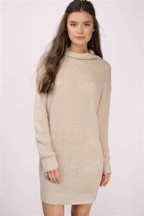 Cute Toast Day Dress - Beige Dress - Sweater Dress - $66.00