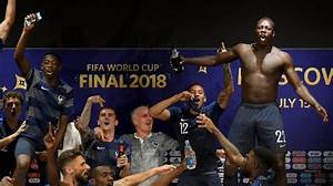 French players crash press conference to celebrate World ...