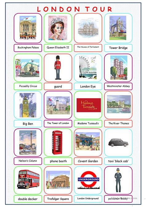 london  picture dictionary worksheet  esl