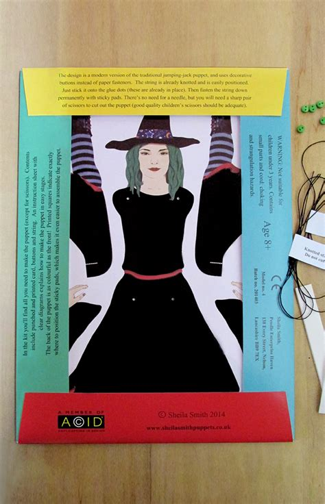reverse side  witch puppet making kit  contents