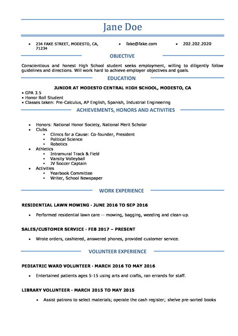 high school resume resumes perfect  high school students