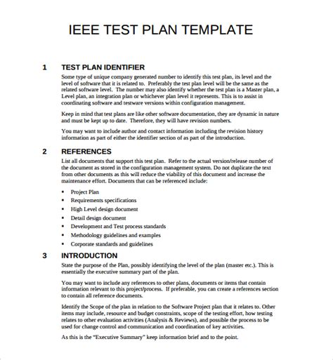 ieee template 9 software test plan templates sle templates