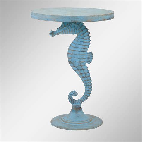 seahorse light blue coastal accent table